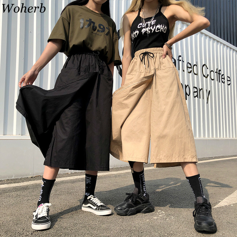 Woherb Harajuku   Wide     Leg   Skirts Capri   Pants   Women High Waist Trousers Streetwear 2019 Summer Korean Cargo   Pants   Pantalones Mujer