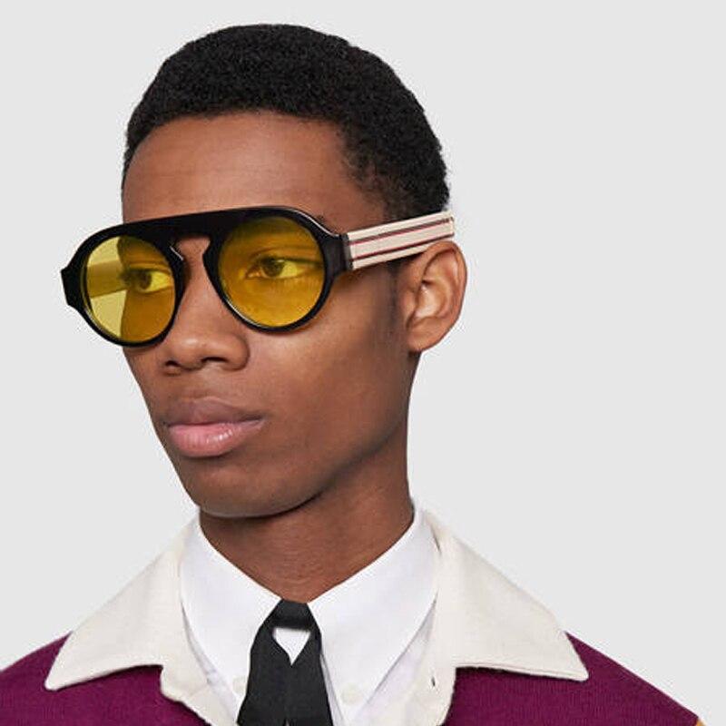 Lente amarillo negro ronda gafas de sol para hombres y mujeres rojo verde marca gafas de sol mujer gafas Vintage 2018 nuevas sombras hombres