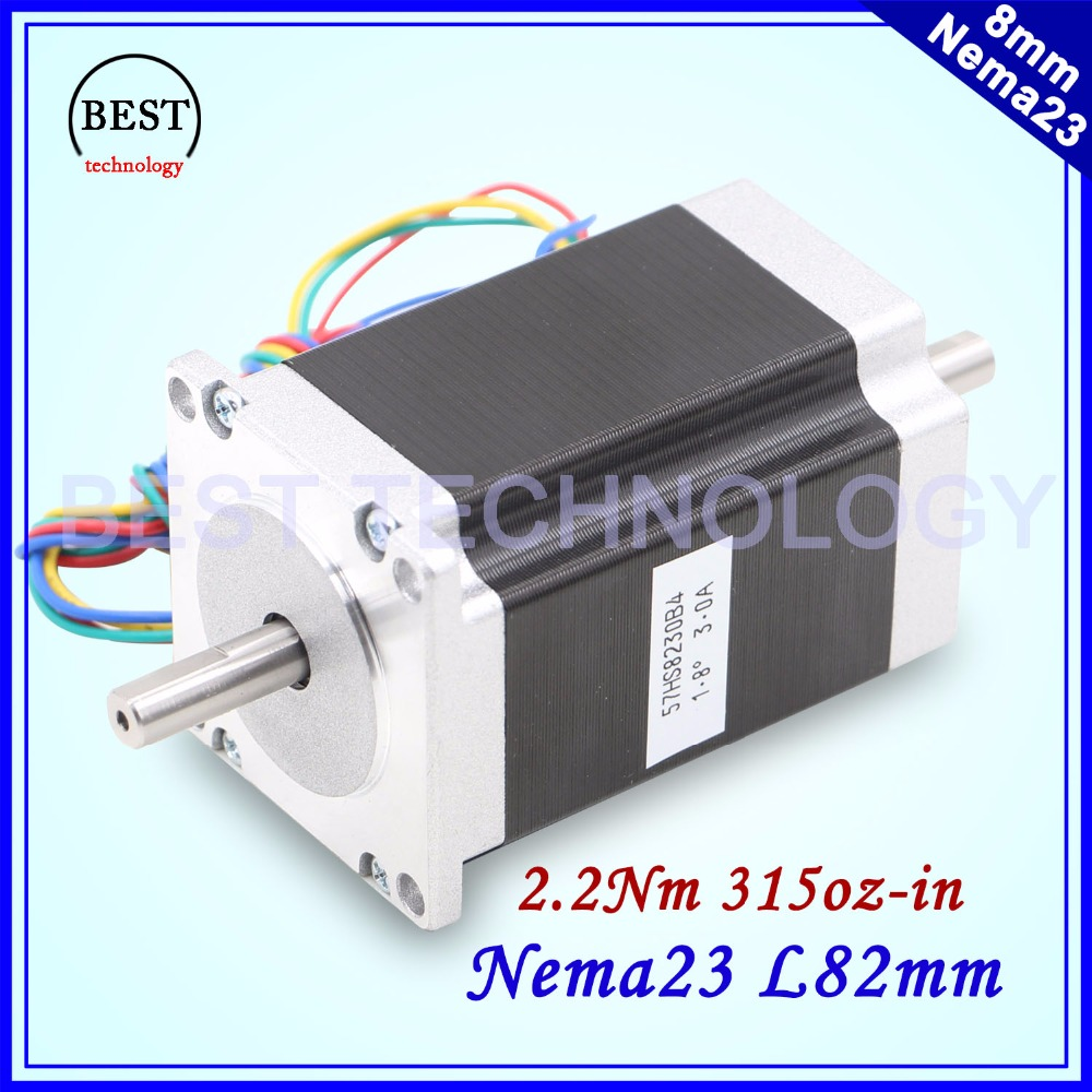 цена на NEMA 23 Stepper motor double shaft 3A 2.2N.m 315Oz-in dual shaft D=8mm 57x82mm Nema23 stepping motor For CNC machine 3D printer