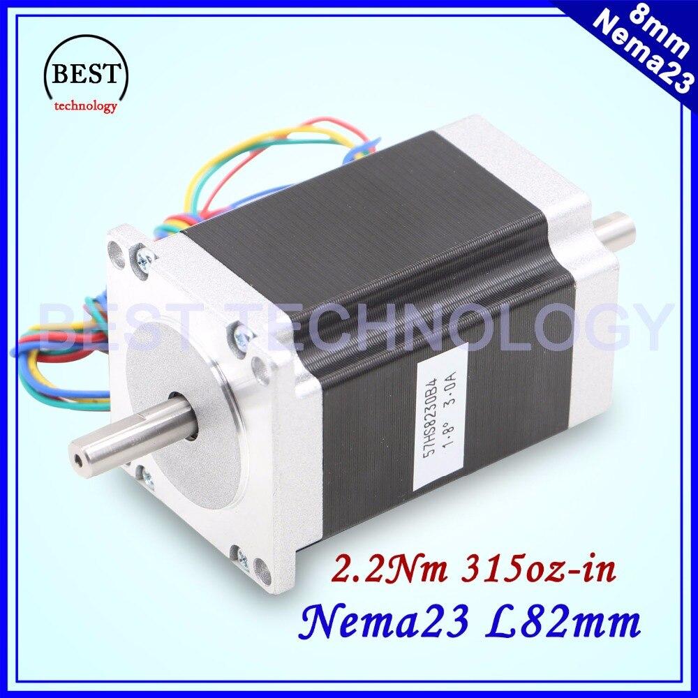 NEMA 23 Stepper motor double shaft 3A 2.2N.m 315Oz-in dual shaft D=8mm 57x82mm Nema23 stepping motor For CNC machine 3D printer