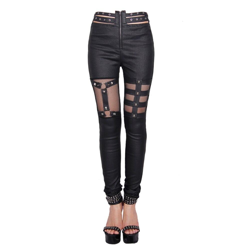 Панк рейв Новый дьявол в готическом стиле следы черные женские леггинсы модные выдалбливают панк эластичные женские тонкие сексуальные те... - 4