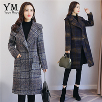 YuooMuoo European Fashion Plaid Winter Coat Women Warm Wool Coat Brand Design Jacket Medium long Women's Cashmere Coat Outwear