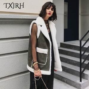 8a9009a510a8 TXJRH Vest Faux Fur Sleeveless Warm Women Coat Outerwear