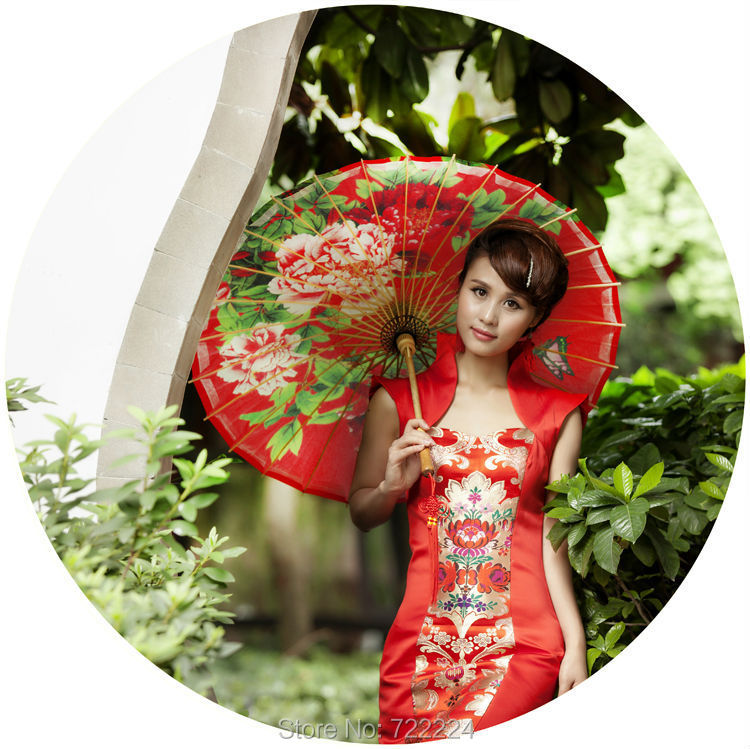 Dia 84cm Chinese Handmade Craft Oiled Paper umbrella Ancient Festival Red Elegant Peony Women Wedding Decoration Dance Umbrella dia 84cm chinese handmade umbrella with red rose waterproof parasol lover decoration gift dance props oiled paper umbrella
