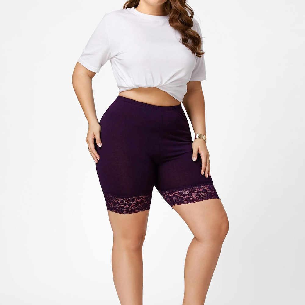 Plus rozmiar kobiety bielizna ochronna wysokiej jakości bezpieczeństwo krótkie spodnie średnio wysoka talia koronkowe gorące spodenki elastyczne spodnie spodnie/PY