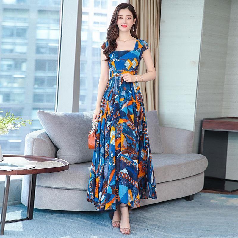 2019 New Summer Women Floral Print Chiffon Maxi Dress Female Square Collar Swing Dresses Lady Party Beach Draped Vestidos Y117 1