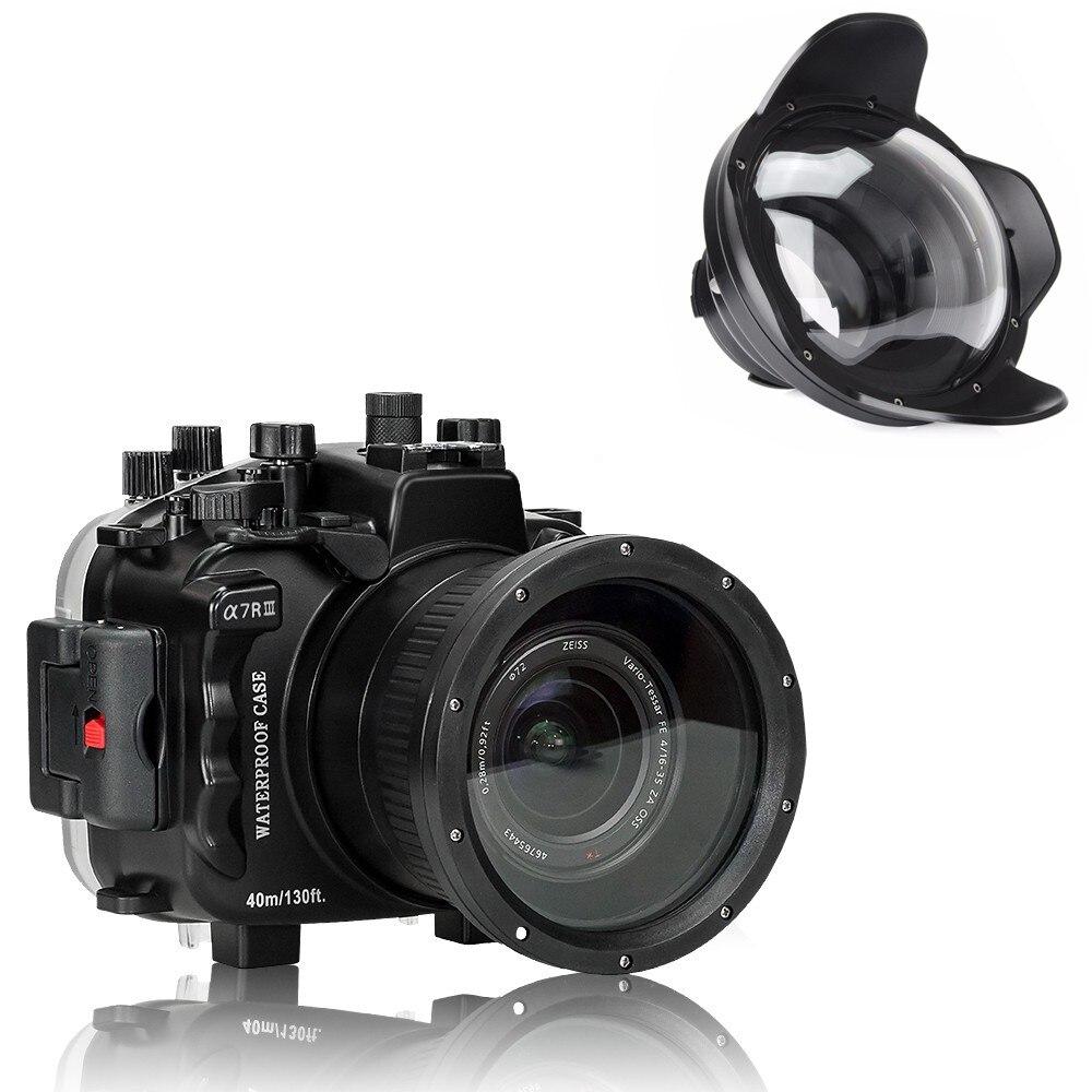 Boîtier de boîtier de caméra sous-marine 40 m/130ft pour Sony A7 III A7R III A7M3 caisson de caméra étanche avec Port de dôme d'angle de fil