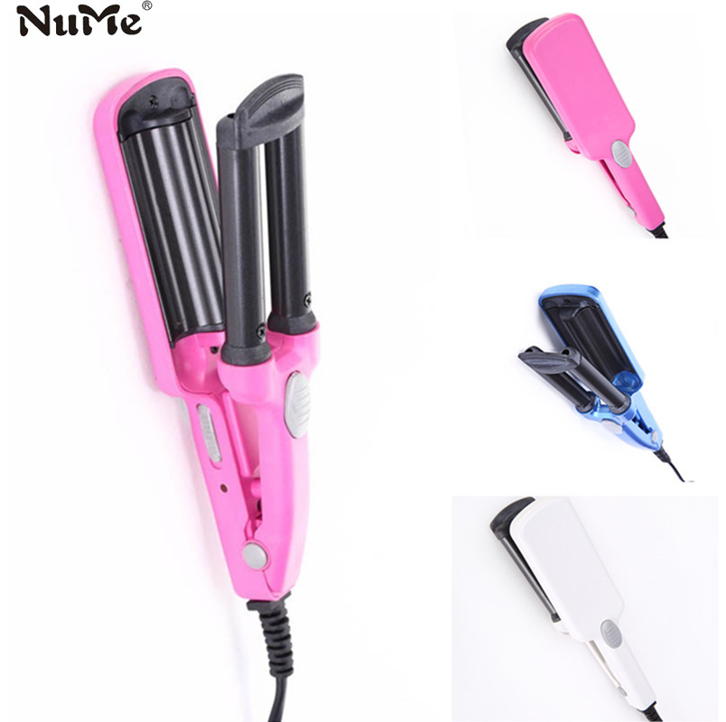 Mini Hair curler rollers 3 Triple Barrel wand curl tongs waver electric curling iron Ceramic styler Big Wave hair styling tools