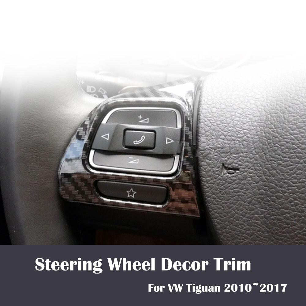 2pcs/Set Imitation Carbon Fiber Car Steering wheel Decor Trim For VW Tiguan 2010~2017