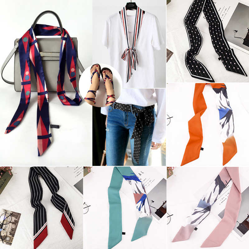 2019 Elegant Print Small Silk Scarf For Women Holiday Print Handle Bag Accessories Ribbon Long Scarves Headbands Head Scarf