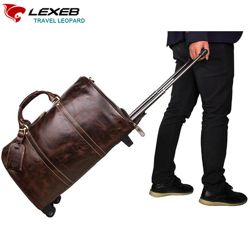 LEXEB Rolling Luggage Travel Duffel Bags Mens Brown Genuine Leather Suitcase Carry On Wheels Road 20 Inch Top Quality Koffer