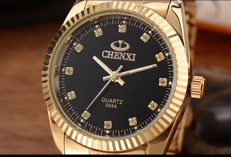 CHENXI Brand Top Luxury Ladies Gold Watch Women Golden Clock Female Women Dress Rhinestone Quartz Waterproof Watches Feminine 13