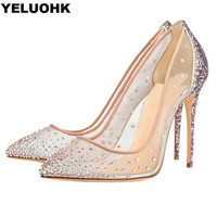 Large Size 43 Party Shoes For Women Sexy High Heels Rhinestone Summer Shoes Woman Pumps Stiletto Wedding Shoes Women