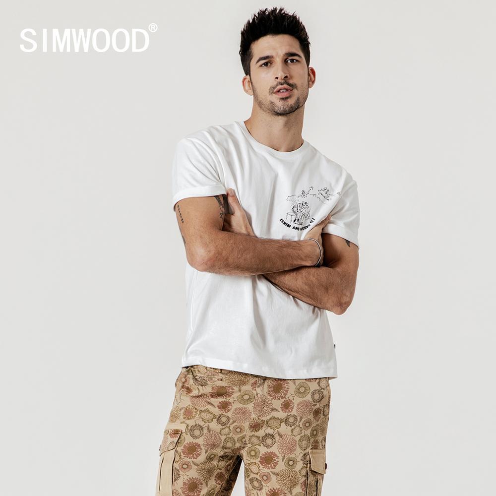 SIMWOOD 2020 summer new carton print t shirt men 100% cotton high quality tops plus size tshirt brand clothing 190244
