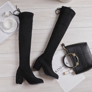 Image 3 - 2019 Flock Leather Women Over The Knee Boots Lace Up sexy Square High Heels Women Shoes Flats Winter Boots Warm Plus Size Brand