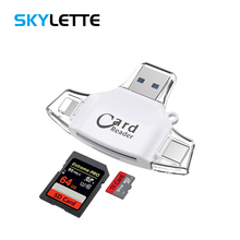 4 In 1 SD TF Card Reader iOS Type-C USB2.0 Android Multi-system Compatible Adapter Portable For iPhone Samsung iPad