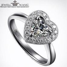 JEWELLWANG Moissanites Ring Deluxe Forever Brilliant 0.5ct Certified FG/vvs1 Engagement Rings For Women Heart Diamond Side Stone