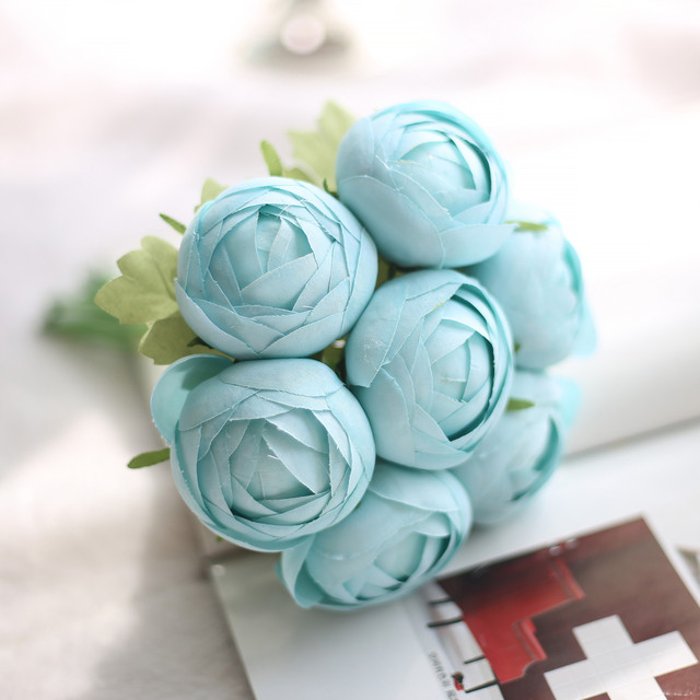 1 Bunch Blue Lotus Flower Silk Artificial Flower Home Celebrations