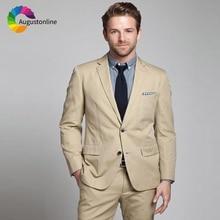 Khaki Slim Fit Wedding Men Suits 2 Pieces (Jacket+Pants) Groom Wear Tuxedos Bridegroom Best Man Blazer