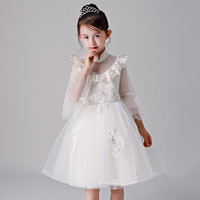 2018 New Baby Kids Beige Color Birthday Wedding Party Ball Gown Princess Prom Dress Toddler Girls Piano Tutu Prom Flowers Dress
