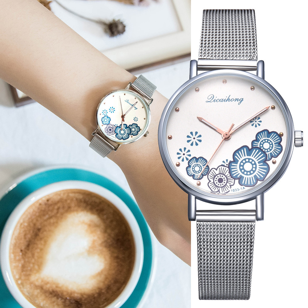 Luxury Women Watch Elgant Ladies Stainless Steel Analog Quartz Watches Popular Womens Flower Shape Wristwatches reloj hombre