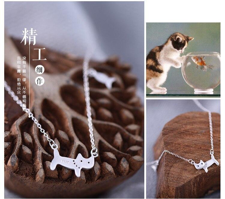 Dostava 925 srebrne ogrlice i privjesci, srebrne ogrlice od mačaka, - Modni nakit - Foto 3