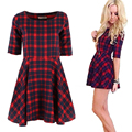 2017 New Women Red Plaid Dress Round Neck Summer Style Half Sleeve Fashion Mini Dresses Vestidos Y2