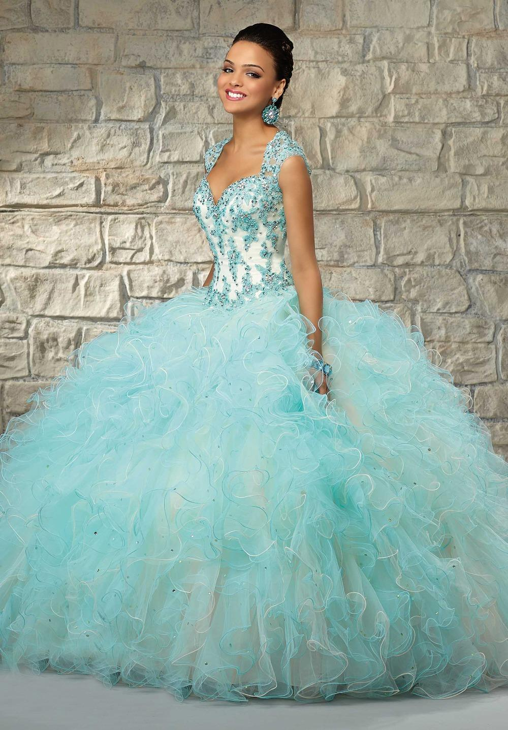 2017 beaded lace bodice organza ball gown blue and white wedding dresses china mainland