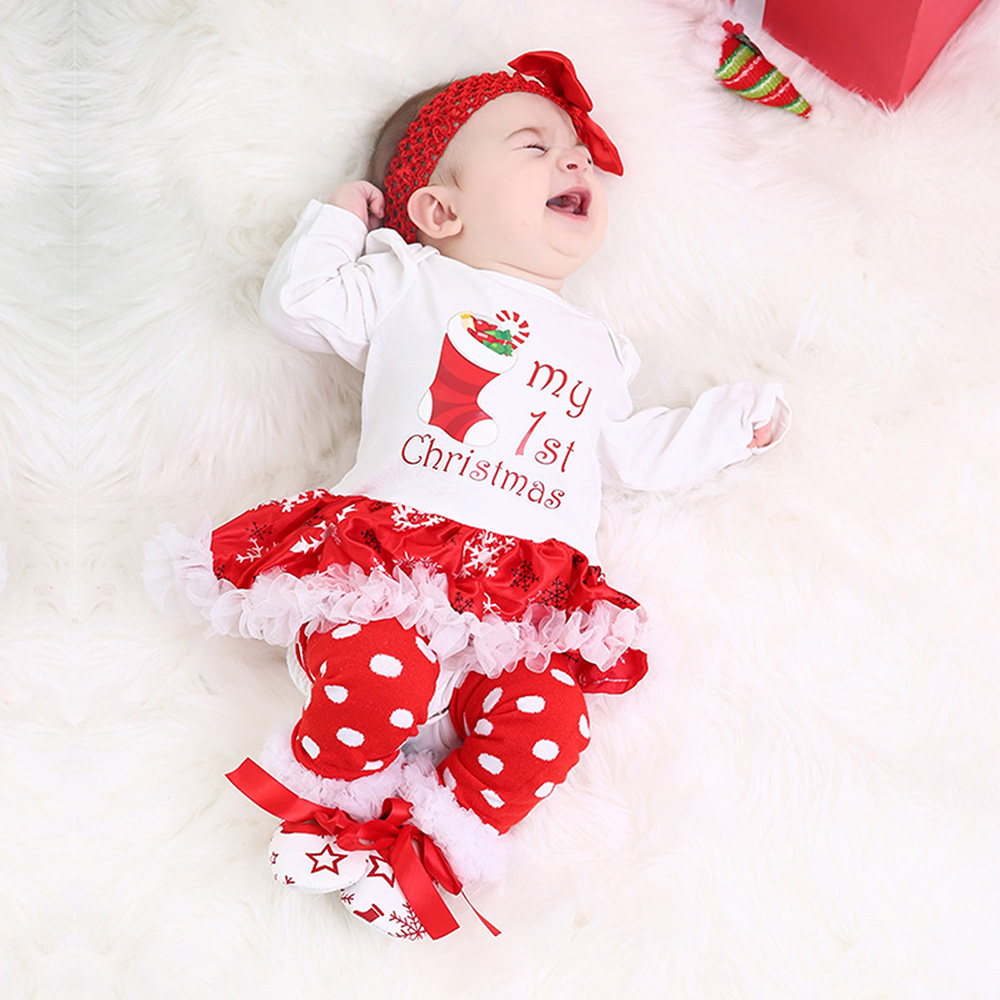 99202d91f Christmas Baby Clothes Snowflake Long Sleeve Newborn Romper Dress Baby  Girls Clothes 4pcs Set 2018 New Year Infant Clothing -in Dresses from  Mother & Kids ...