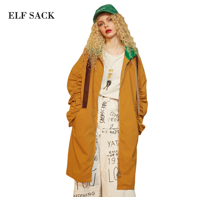 ELF SACK Color Blocking Women   Trench   Coats Hooded Long Letter Embroidery Loose Casual Trenckcoats Loose Long Coats