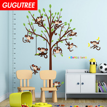 Decorate trees monkey leaf art wall sticker decoration Decals mural painting Removable Decor Wallpaper LF-1819