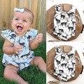 Veados Impressão Macacão de Recém-nascidos Do Bebê Da Princesa Menina Causal Manga Solta Roupas Desgaste Macio Meninas Macacão Verão