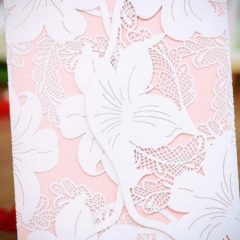 12PCS/lot White Laser Cut Vintage Lily Wedding Invitation Cards ...