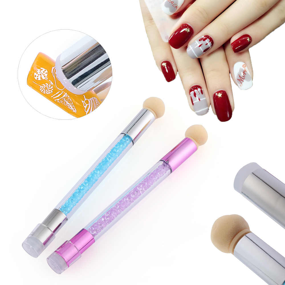 Sponge Head Transfer Stamping Rhinestone Handle Blooming Pen Double End Nail Art Gel Polish Color Gradient Brush Manicure Tool