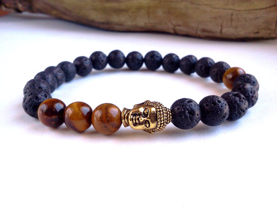 Sn0559 Mens Buddha Bracelet Lava Stone Tigers Eye Antique Gold Energy In Strand Bracelets From Jewelry Accessories