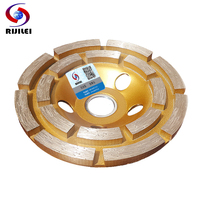 RIJILEI 4inch 100mm Diamond Double Row Grinding Wheel Disc Bowl Shape Grinding Cup Concrete Granite Stone