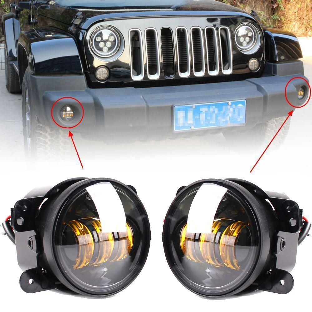 Marloo – feu antibrouillard rond Led ambre/jaune, 4 pouces, 30W, pour Jeep Wrangler JK Unlimited JKU Dodge Off Road