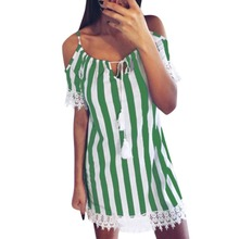 цена на Dress Women's Casual Striped Spaghetti Strap Cold Shoulder Short Sleeve A-Line Lace Stitching Dress