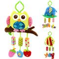 Lovely baby owl plush doll lathe hanging bells baby toys for bed stroller 3 wind chime animal soft playing toys