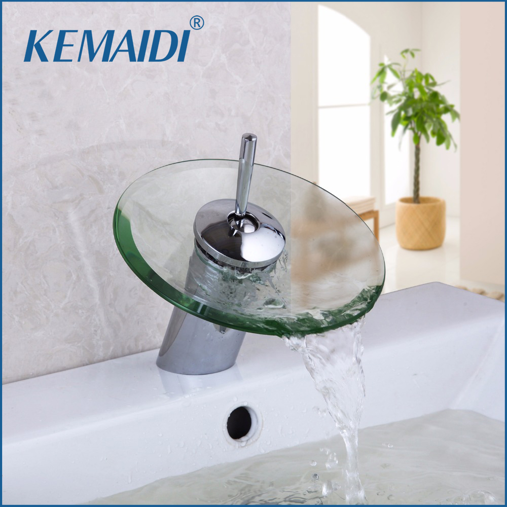 kemaidi bathroom faucet glass waterfall deck mounted 21358