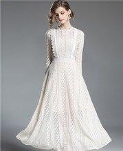Encaje Beige Slim vestido de longitud del tobillo de las mujeres Maxi  vestido elegante fiesta Vintage Oficina 3776970e5456