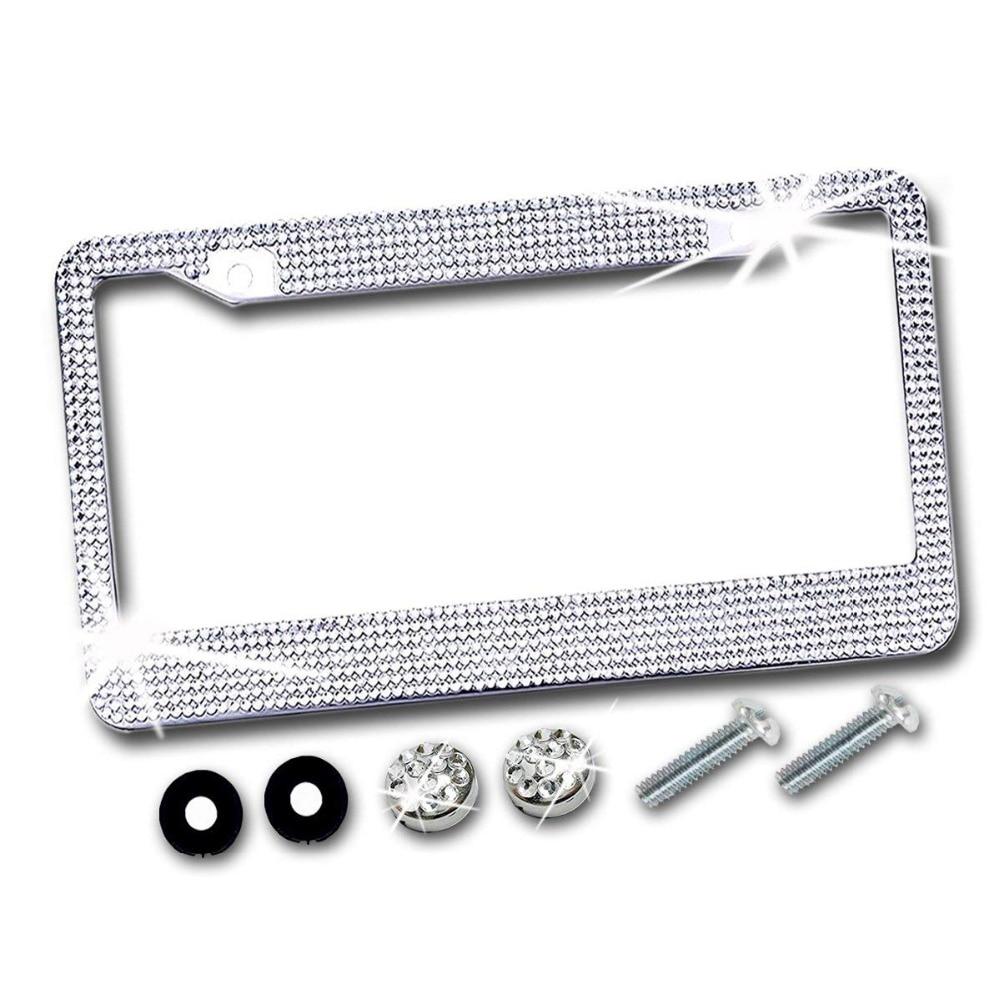 2 Row Aqua Rhinestone Crystal Diamond Sparkle Bling Metal License Plate Frame