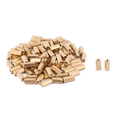 100 Pcs M3 Female Threaded PCB Brass Standoff Spacer 11mm Height Gold Tone M3x11