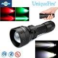 UniqueFire 1407 XR-E Светодиодный Фонарик Зеленый/Красный/Белый света LED 38 мм Выпуклая Линза Лампы Для 1*18650 Батареи Бесплатно доставка
