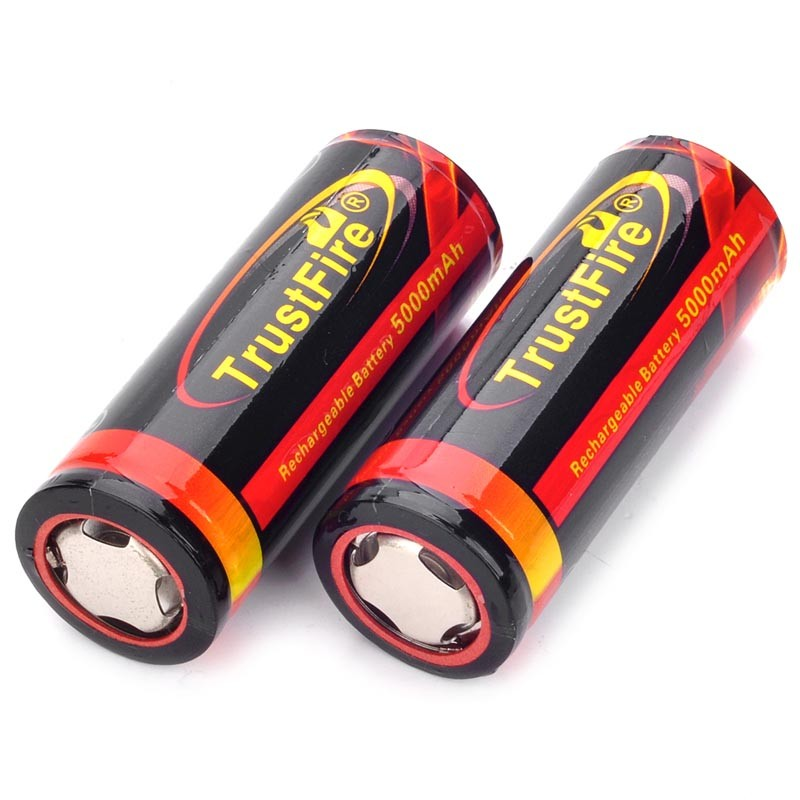 2 PCS/ lot TrustFire Rechargeable 3.7V 5000mAh 26650 Li-ion Batteries with protection circuit for 26650 Flashlights