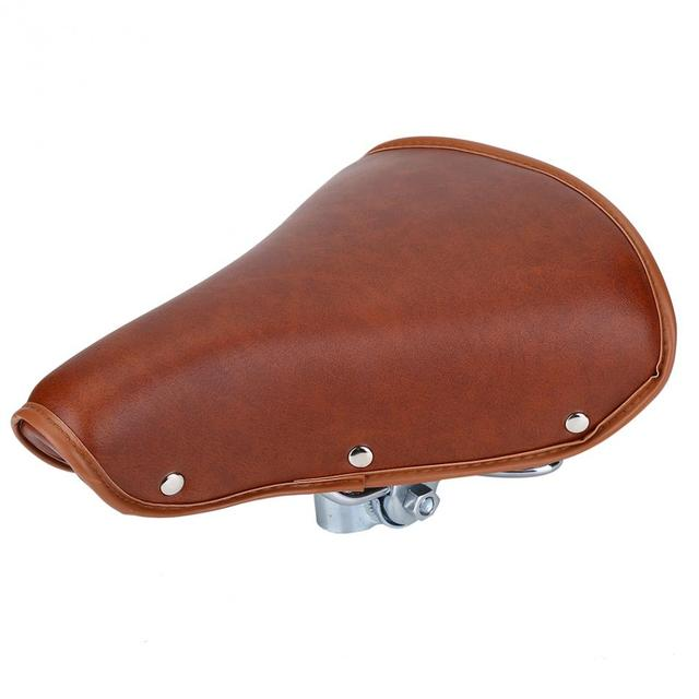 Pu Leather Metal Bicycle Saddle Brown Color Seat Cover Durable 25 X 20 Cm
