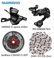 Shimano XT M8000 4pcs bike bicycle mtb 11 speed kit Groupset RD M8000 Shifter with SunRace cassette K7 KMC chain 11 46T 11 50T