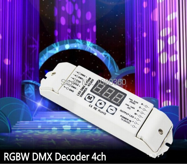 DMX512 Decoder RGBW RGBWW LED strip RGB+White/Warm white Decoder , DC12V-24V, 4 channel DMX Decoder, Controller Dimmer 4 channel 5a rgbw dmx 512 led decoder controller dmx dimmer use for dc12 24v rgbw rgb led light