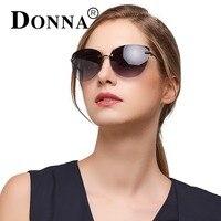 DONNA Phụ Nữ Kim Loại Cat Eye Sunglasses với Rim Ít Khung Gương kính Mặt Trời Thời Trang Thiết Kế Thương Hiệu Phong Cách Độc Đáo D118