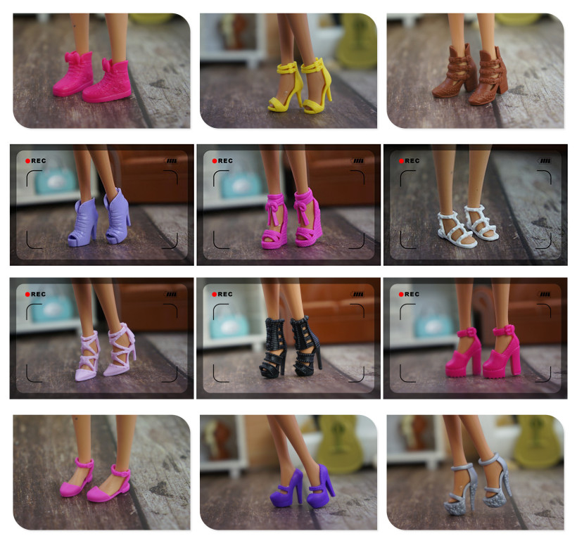 High Quality 10 Pair / Lot New Orignal Shoes For Barbie Doll 1/6 Fashion Doll Sandals Flats Shoes Doll Accessories